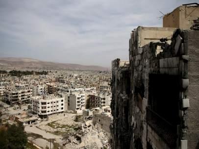 Vista general del barrio rebelde de Qaboun, en Damasco.