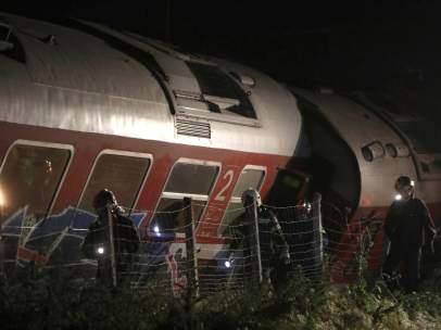 Descarrilamiento de un tren en el norte de Grecia