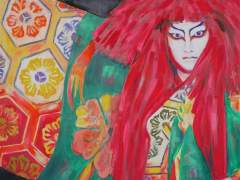 La pintora española Victoria Valero muestra su visión del Kabuki en Tokio