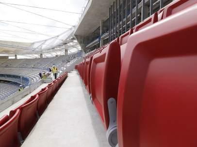 Comienza la instalación de asientos en el Wanda Metropolitano.