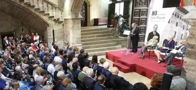 Imagen de un homenaje a la figura de Juan Negrín en la Generalitat.