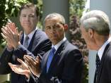 Barack Obama (c), y James Comey (i) y Robert Mueller