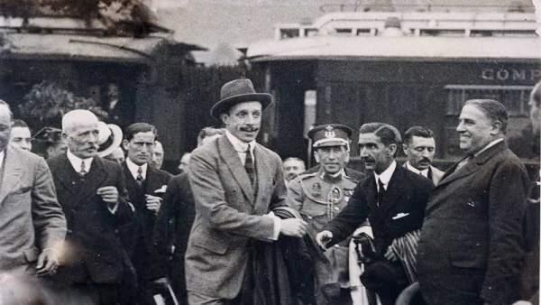 Alfonso XIII en el Caminito del Rey