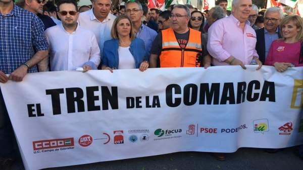 Irene García en la manifestación por la Algeciras-Bobadilla
