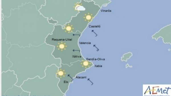 Cels clars i temperatures en descens este divendres a la Comunitat Valenciana