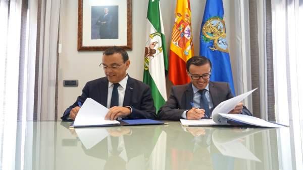 Nota Informativa. Las Diputaciones De Huelva Y Badajoz Firman Un Convenio Para C