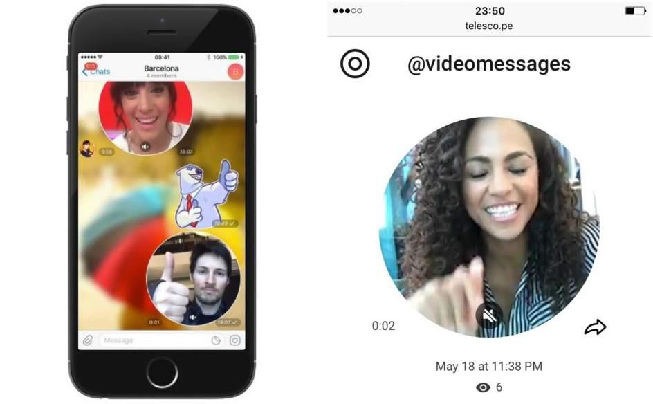 Telegram incluye mensajes de vídeo, vistas rápidas de páginas web y pagos mediante bots