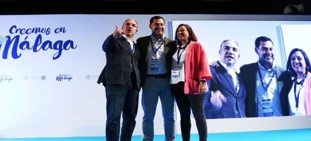 Bendodo, Moreno y Navarro. Reeleción de Bendodo como presidente del PP