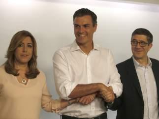 Susana Diaz, Pedro Sánchez y Patxi López
