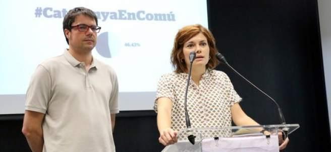 La portavoz de los comunes, Elisenda Alamany, y el coordinador de Organización, Xavi Matilla,