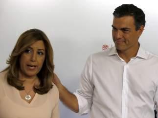 """Susana Díaz: """"Ahora lo que toca es arrimar el hombro y ayudar y apoyar a Pedro"""""""