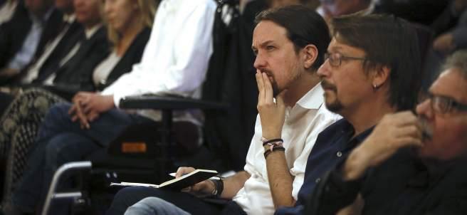 Pablo Iglesias, durante la conferencia de Carles Puigdemont en Madrid