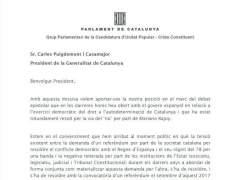 """La CUP urge a Puigdemont la convocatoria """"inmediata"""" del referéndum"""