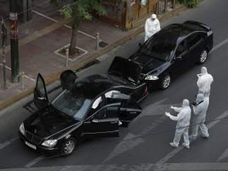 Explosión en el coche de Lukas Papademos