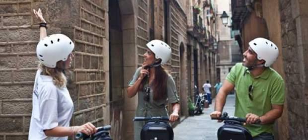 Circulación en segways por Barcelona.
