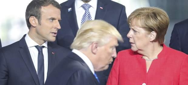 Macron, Merkel y Trump