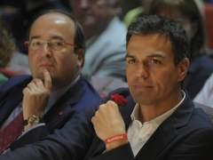 Miquel Iceta y Pedro Sánchez en un mitin.