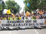 Cabeza de la manifestación de los taxistas en Madrid