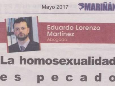 La revista de una organización de empresarios gallegos compara la homosexualidad con el incesto