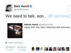 Tuit de Mark Hamill a su hijo.