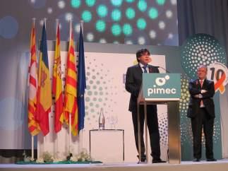 Carles Puigdemont, durante el discurso.