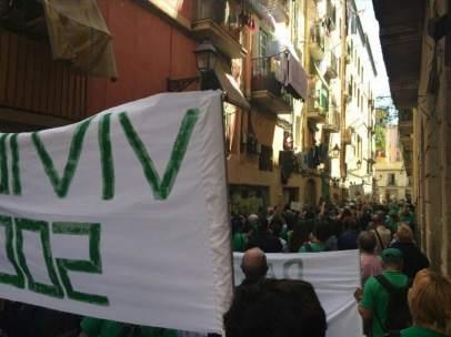 Protesta en la calle Lancaster de Barcelona.