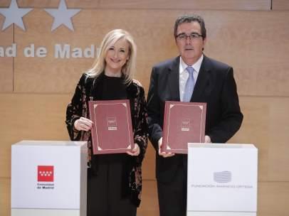 Firma del convenio entre la Comunidad de Madrid y la Fundación Amancio Ortega