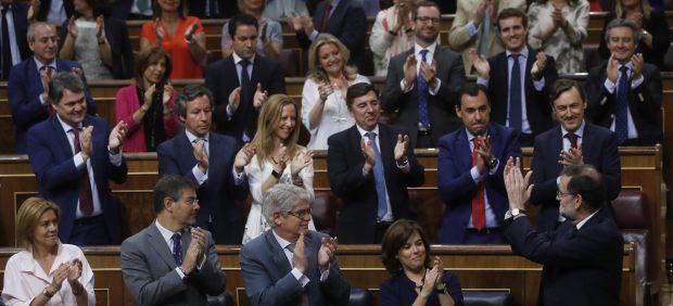 Mariano Rajoy, aplaudido en el Congreso.