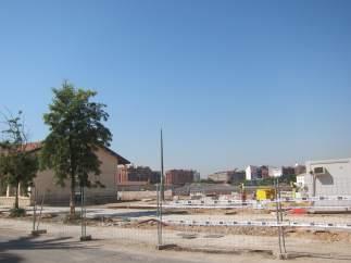 Obras del Parque Central de València en la parte que linda con Russafa