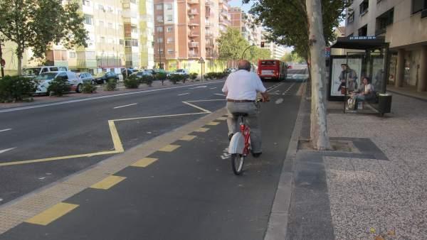 Ciclista en carril bici