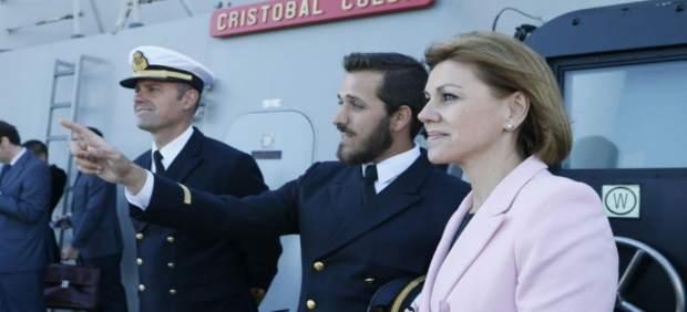 Dolores de Cospedal a bordo del 'Cristóbal Colón'
