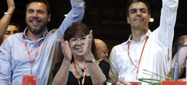 Óscar Puente, Cristina Narbona y Pedro Sánchez