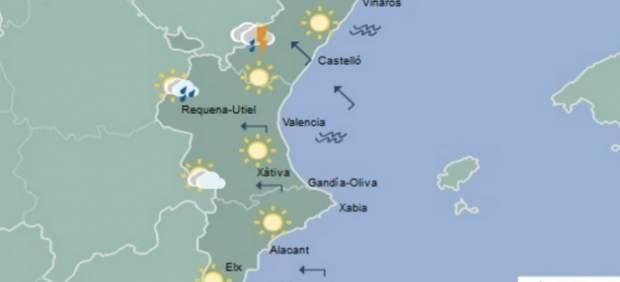Probabilitat de tempestats en l'interior de Castelló i València i màximes en ascens de fins als 35 graus este dimarts