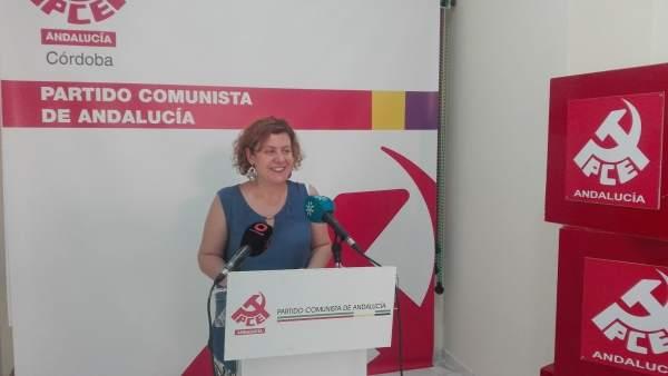 Alba Doblas durante la rueda de prensa