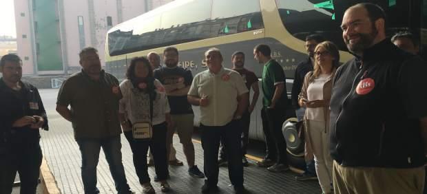 Piquete en Lugo por la huelga de transporte de viajeros