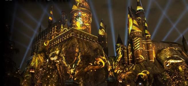 The Nighttime Lights at Hogwarts Castle