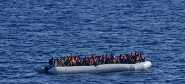 Migrantes en el Mediterráneo.