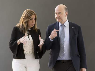 Susana Díaz y Pierre Moscovici