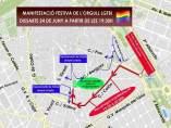 Recorregut de la manifestació a València de l'Orgull LGTB