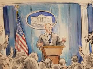 La CNN envía a un dibujante para retratar las ruedas de prensa sin cámaras de la Casa Blanca