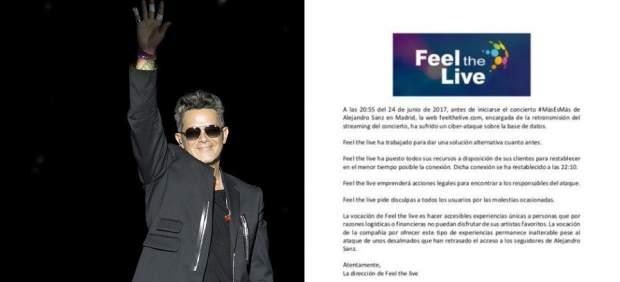 Polémica por el fallo masivo del 'streaming' de pago del concierto de Alejandro Sanz