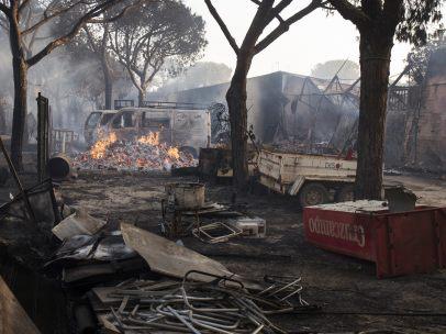 Camping de Doñana arrasado por el fuego