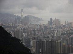 Amanecer nublado en Hong Kong