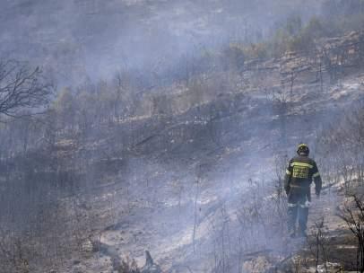 Incendio en la sierra Calderona