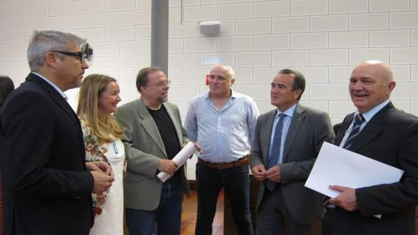 Sánchez Quero junto a los portavoces del PSOE, PP, En Común, Cs y CHA