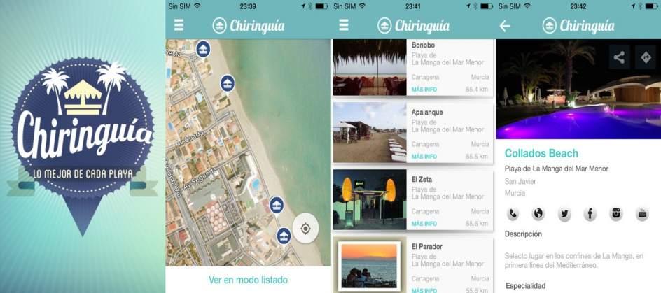 Menú interior de la aplicación Chiringuía
