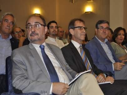 El presidente del Gobierno de Aragón, Javier Lambán, en el homenaje a Brandt.
