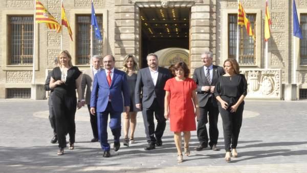 Lambán ha valorado el ecuador de la legislatura junto con su Gobierno.