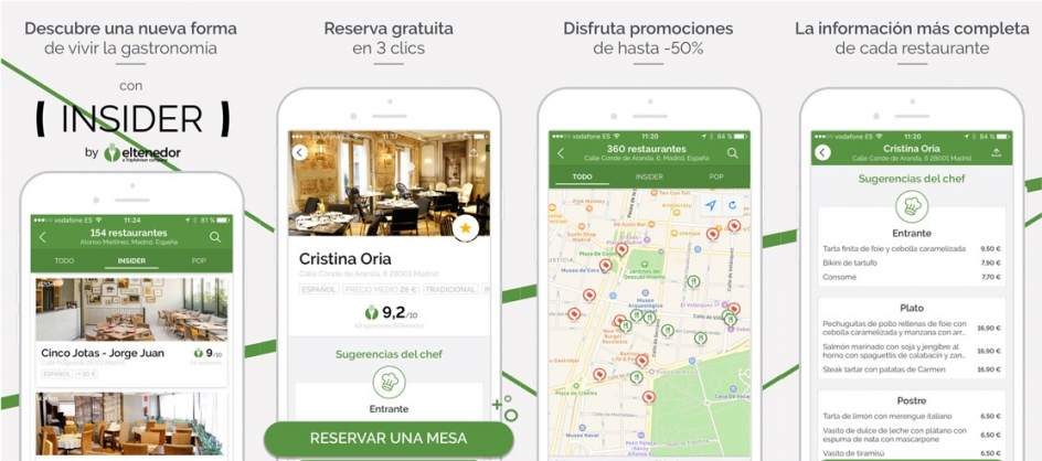 Menu inside the app Holder
