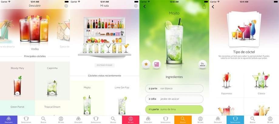 Menu inside the app Cocktail Flow